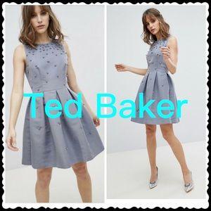 Ted Baker Embellished Dress in Grey Size 4